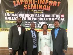 L – R Chinedu Moghalu, Regional Head, NEXIM Bank, Enugu; Dr. Obiora Madu; Mrs. Gertrude Ukoa, Head,